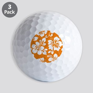 Orange Hawaiian Hibiscus Golf Ball
