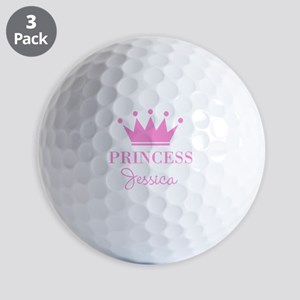 Personalized pink princess crown Golf Ball