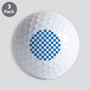 BLUE AND WHITE Checkered Pattern Golf Ball