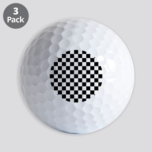 BLACK AND WHITE Checkered Pattern Golf Ball