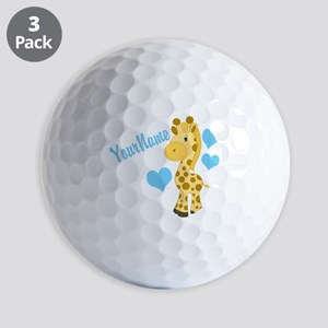 Personalizable Blue Baby Giraffe Golf Ball