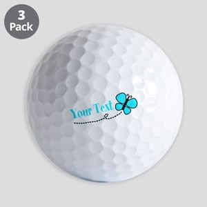 Personalizable Teal and Black Butterfly Golf Ball