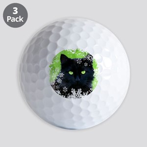 BLACK CAT & SNOWFLAKES Golf Balls