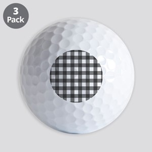Black White Buffalo Plaid Golf Balls