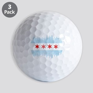 Chicago Skyline Flag Golf Balls