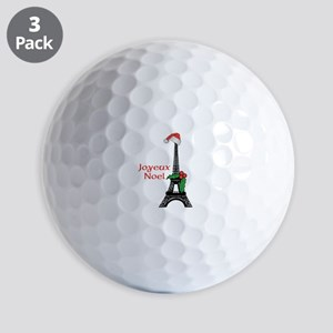 Whimsical Eiffel Tower Paris Joyeux Noel Golf Ball