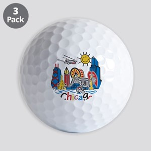 Chicago Cute Kids Skyline Golf Balls