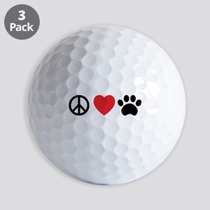 Peace Love Paw Golf Balls