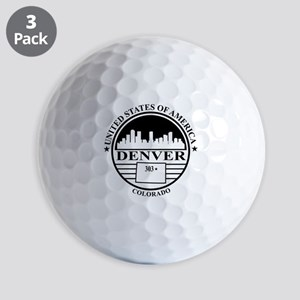 Denver logo white and black Golf Balls