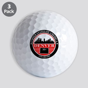 Denver logo black and red Golf Balls