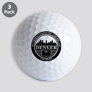 Denver logo black and white Golf Balls