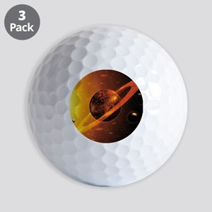 Artwork of red dwarf star with flares o Golf Balls