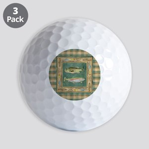 Fishing Cabin Lake Lodge Plaid Decor Golf Balls