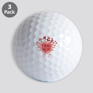 Personalized 9th Anniversary Golf Balls