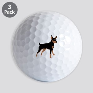 Cartoon Miniature Pinscher 1 Golf Balls
