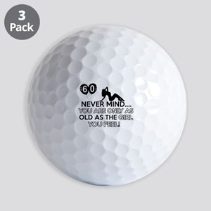 Funny 60 year old birthday designs Golf Balls