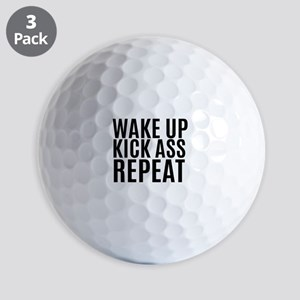 Wake Up Kick Ass Repeat Golf Ball