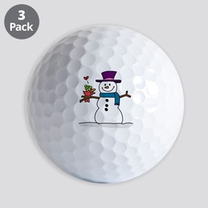 Snowman bird love christmas Golf Balls