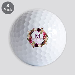 Boho Wreath Wedding Monogram Golf Ball