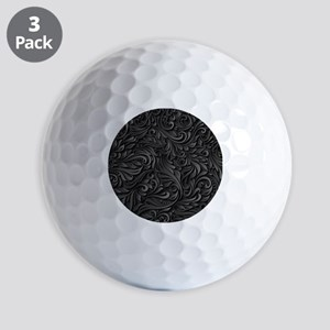 Black Flourish Golf Balls