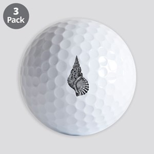 Black and white Conch shell Golf Balls