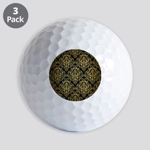 DAMASK1 BLACK MARBLE & GOLD BRUSHED MET Golf Balls