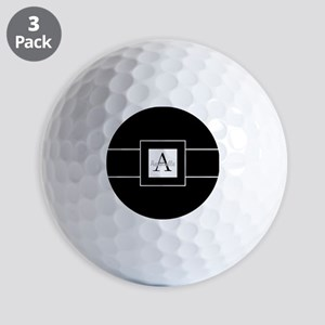 Black White Monogram Personalized Golf Ball