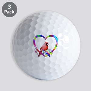 Northern Cardinal In Colorful Heart Golf Balls