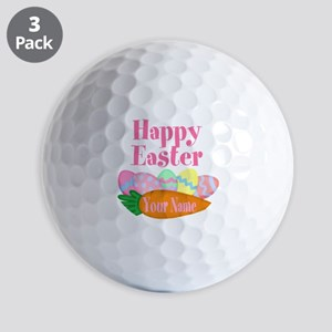 Happy Easter Carrot and Eggs Golf Ball