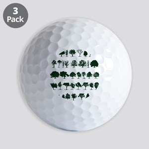 Tree Silhouettes Green 1 Golf Balls