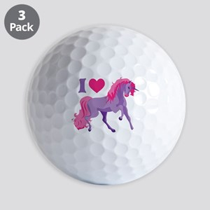 I Love Unicorns Golf Balls