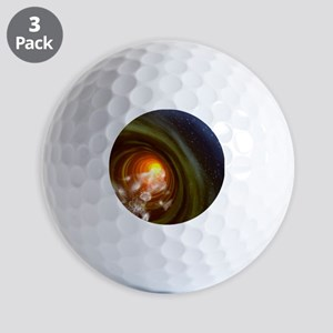Wormhole event, computer artwork Golf Balls