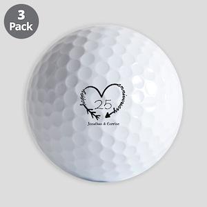 Custom Anniversary Doodle Heart Golf Balls