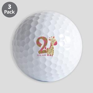 2nd Birthday Giraffe Personalized Golf Balls