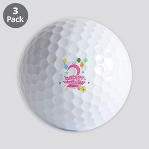 2nd Birthday with Balloons - Pink Golf Balls