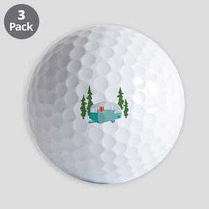 Camper Scene Golf Ball