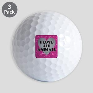 I Love All Animals Golf Balls