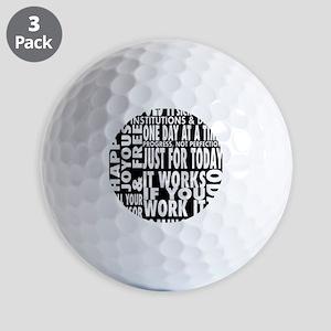 12 STEP SLOGONS IN BLACK Golf Balls