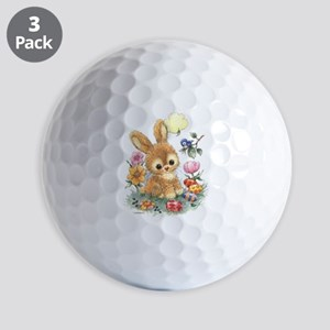Cute Easter Bunny With Flowers And Eggs Golf Balls