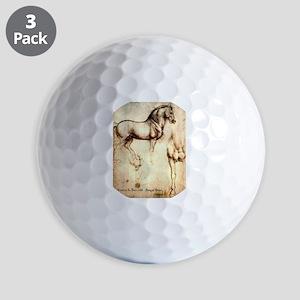 Leonardo da Vinci Study of Horses Golf Balls