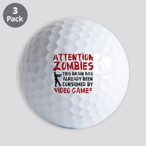 Attention Zombies Video Games Golf Balls