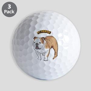 bulldog with text Golf Balls