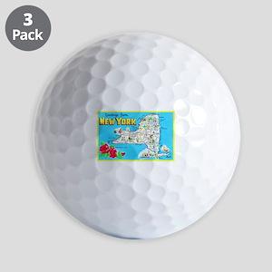 New York Map Greetings Golf Balls