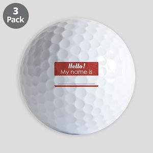 Hello My Name Is Blank Golf Balls