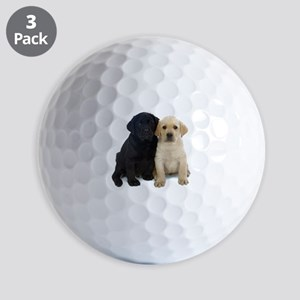 Black and White Labrador Puppies. Golf Balls