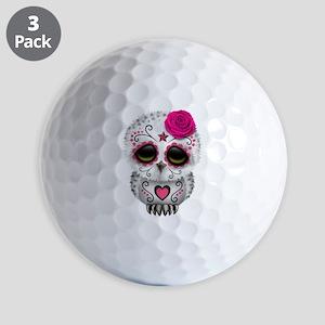 Pink Day of the Dead Sugar Skull Owl Golf Balls