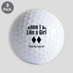 ski like a girl Golf Balls