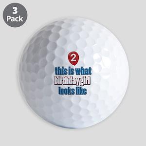 2 year old birthday girl designs Golf Balls
