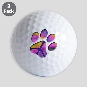 Peaceful Paw Print Golf Ball