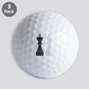 Black king white queen chess pieces Golf Balls